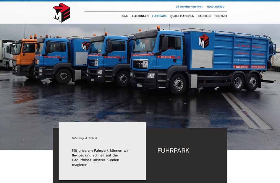 Fuhrpark Seite der Martin Entsorgung Website