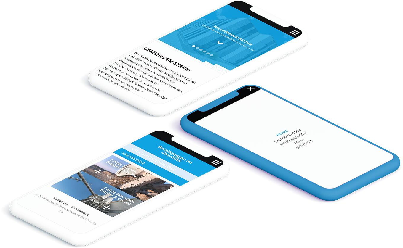 Zwei weiße und ein blaues Smartphone zeigen verschiedene Seiten der UNIKA Kalksandstein Website