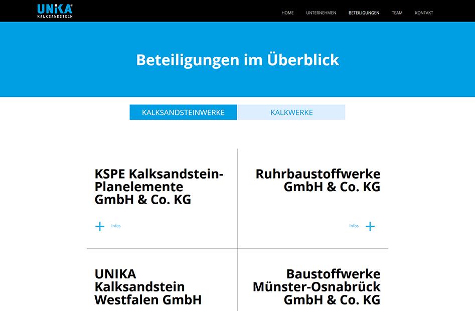 Unterseite zum Thema Beteiligungen an Kalksandstein- und Kalkwerken der UNIKA Kalksandstein Website