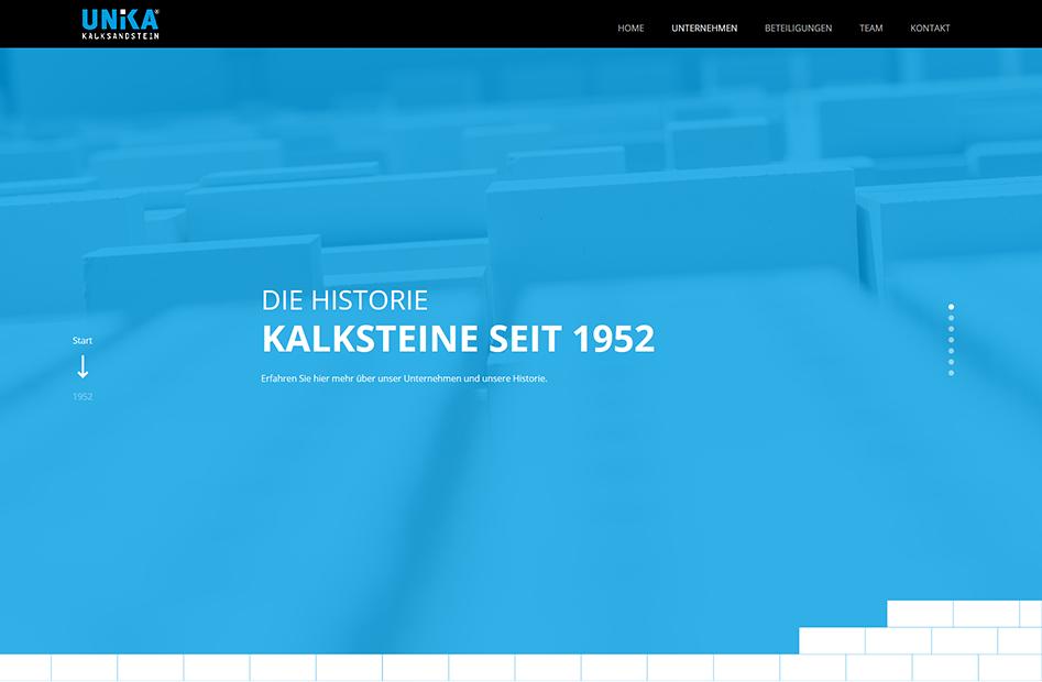 Unterseite zur Firmen-Historie der UNIKA Kalksandstein