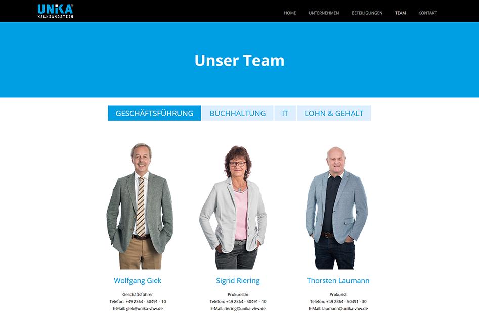 Teamseite der UNIKA Kalksandstein Website