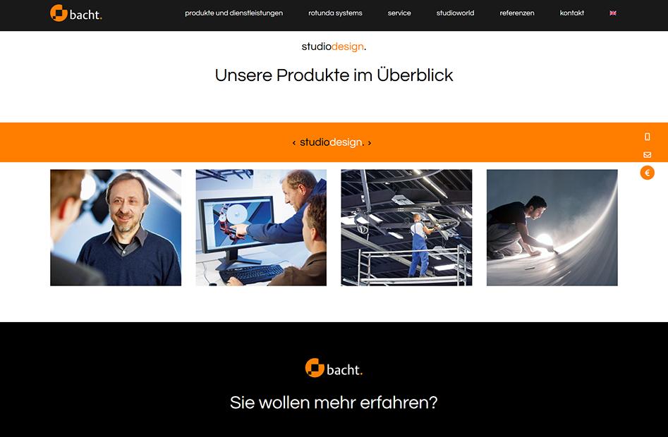Produktübersichtsseite der bacht Website