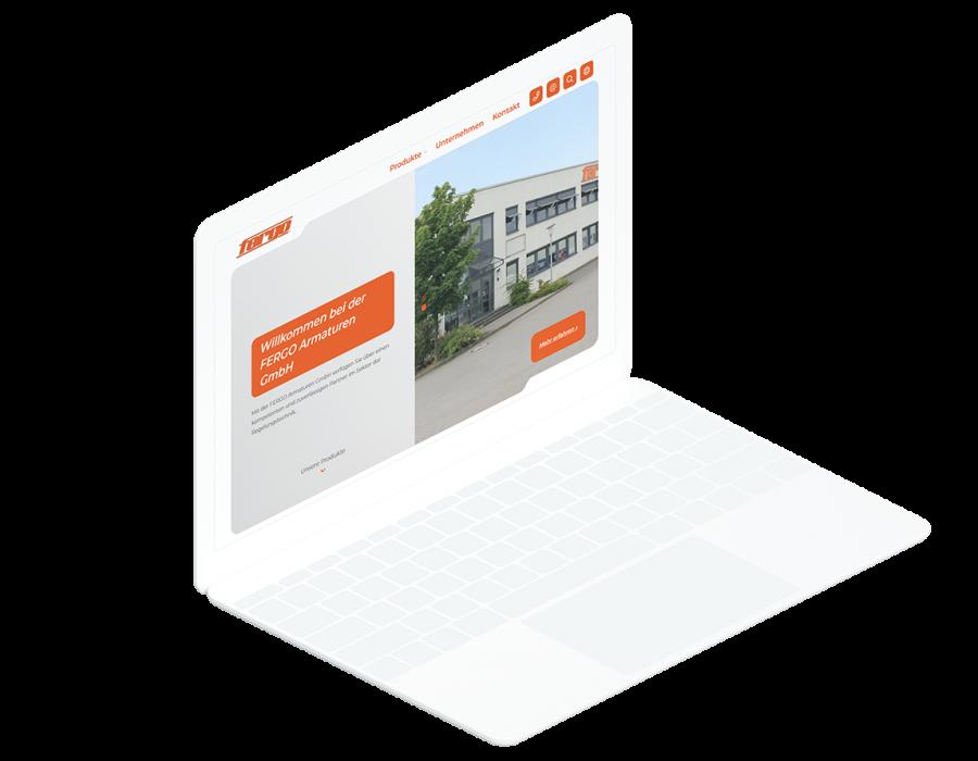 Weißes Laptop zeigt die Startseite der FERGO Website