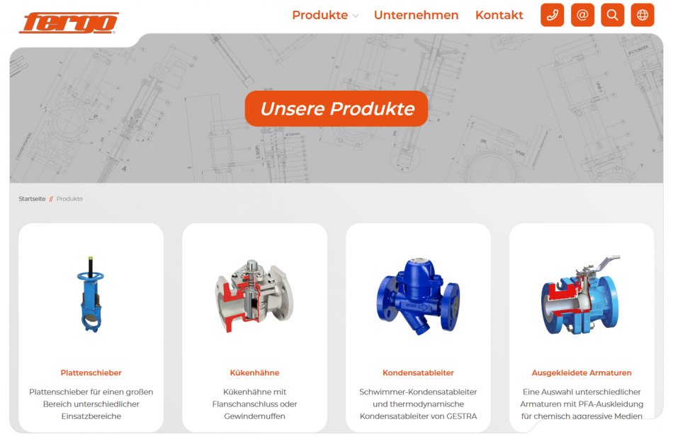 Bebilderte Produktübersichtsseite der FERGO Website