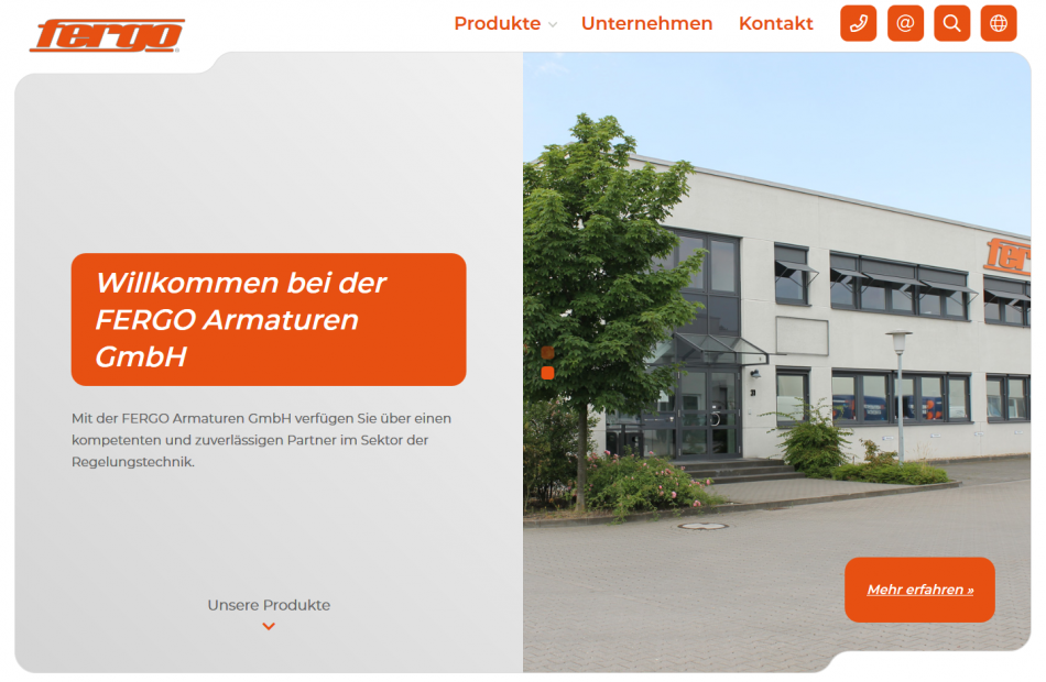Startseite der FERGO Website
