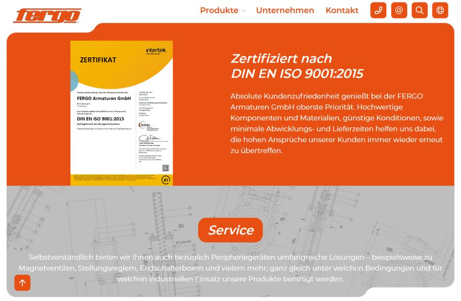 FERGO Seite, die das DIN EN ISO 9001:2015 Zertifikat der Firma anzeigt