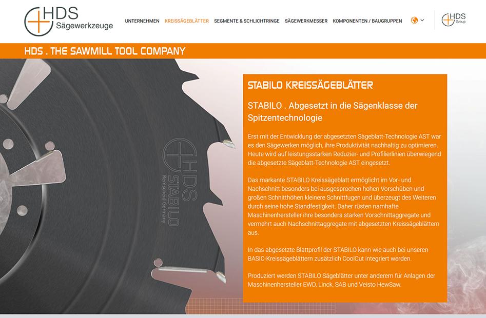 STABILO Kreissägeblätter Detailseite der HDS-Group Website