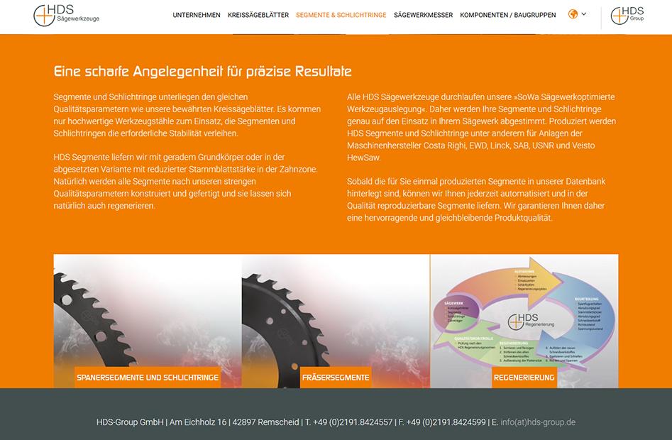 Segmente und Schlichtringe Detailseite der HDS-Group Website