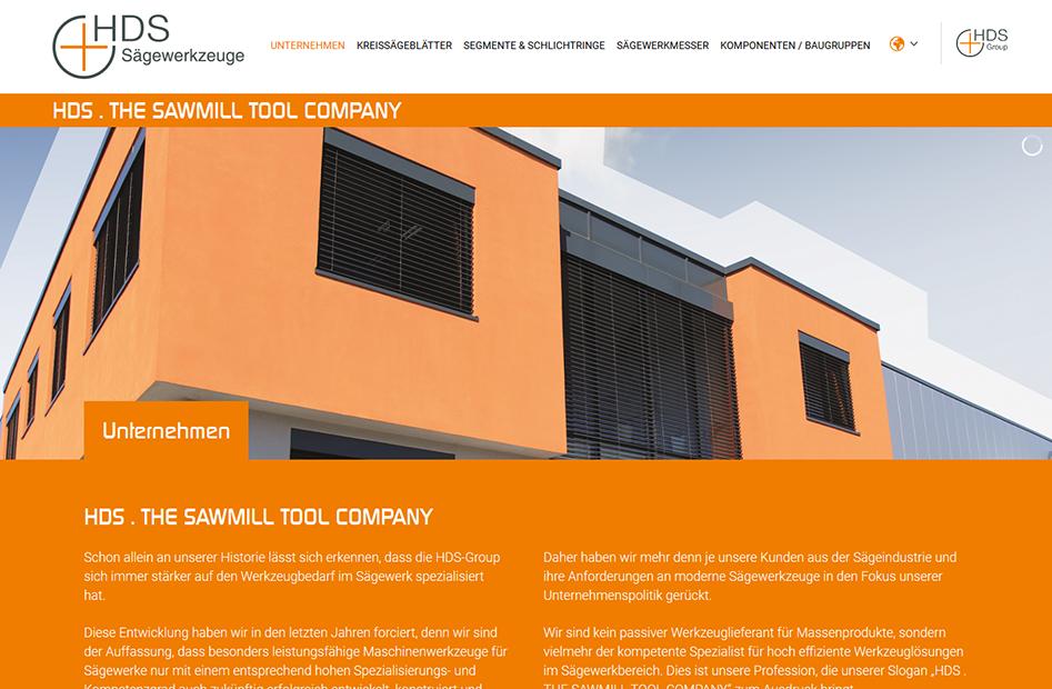 Unternehmensseite der HDS-Group Website