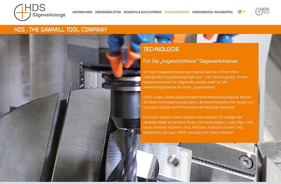 Detailseite der HDS-Group Website zur Technologie für Sägewerkmesser