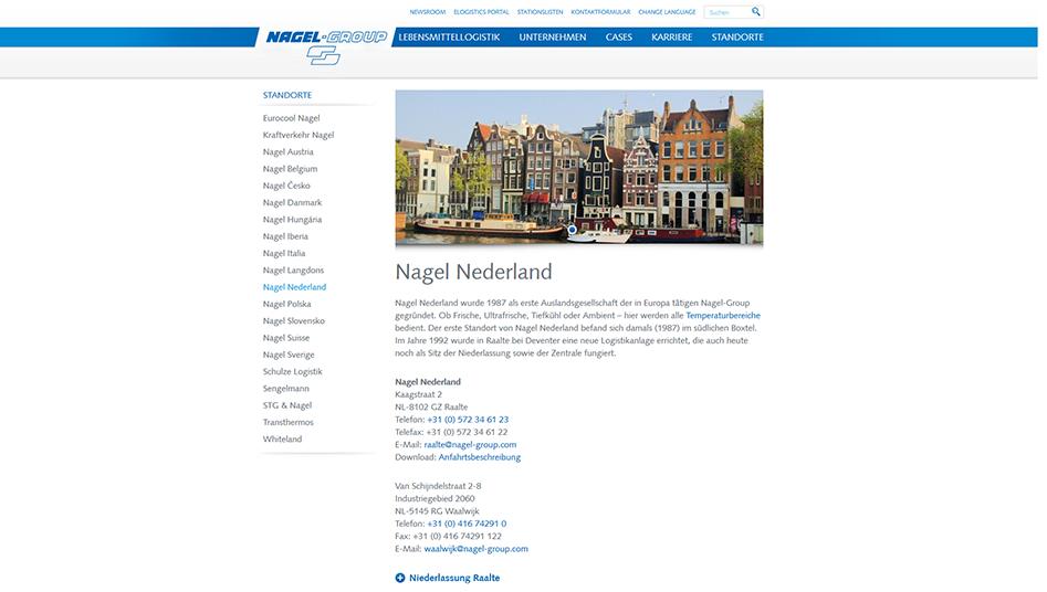 Standort-Seite der Nagel-Group Website