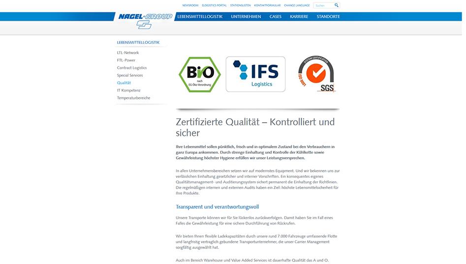 Qualitäts Seite mit Zertifikaten der Nagel-Group Website