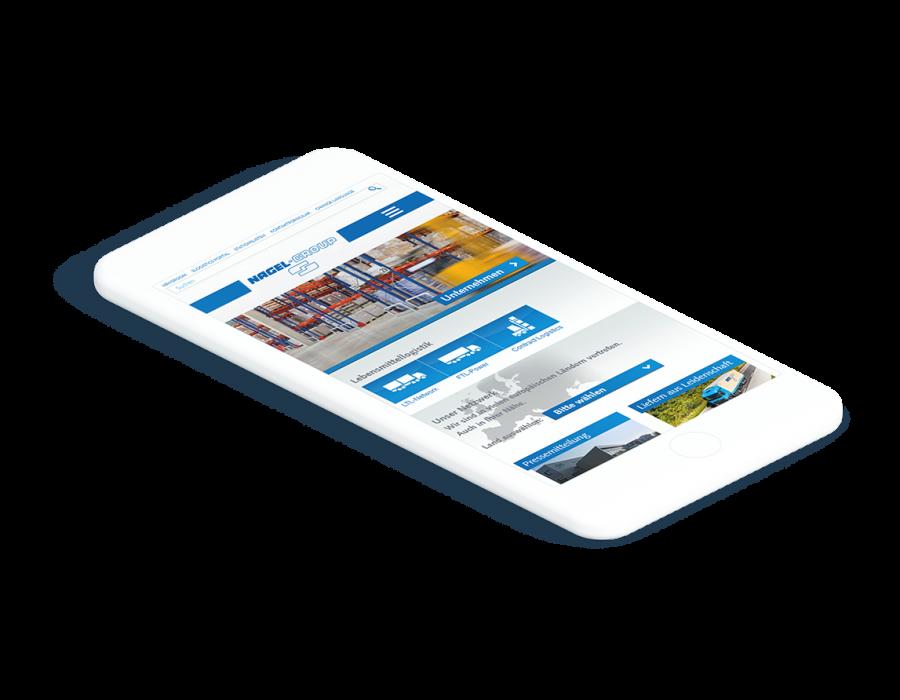 Weißes Smartphone zeigt Startseite der Nagel-Group Webiste an