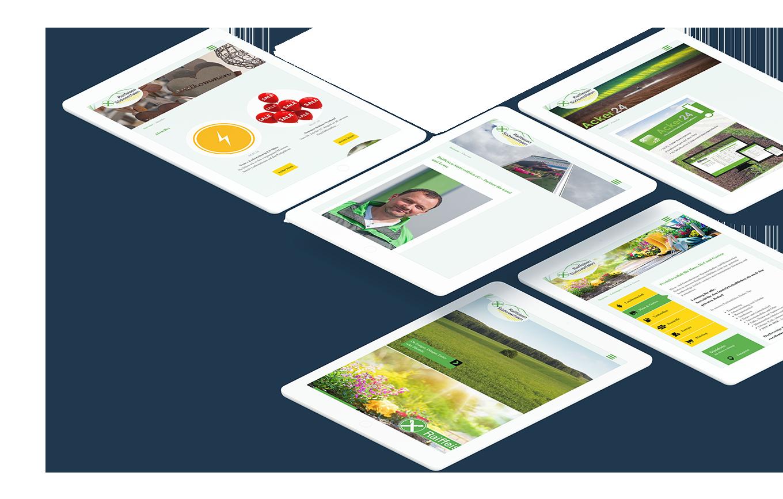 Mehrere weiße Tablets, die unterschiedliche Seiten der Raiffeisen-Südwestfaleln Website anzeigen
