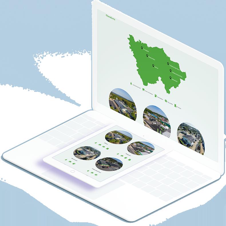Weisses Laptop und Tablet, die verschiedene Seiten der Raiffeisen-Südwestfalen Website anzeigen