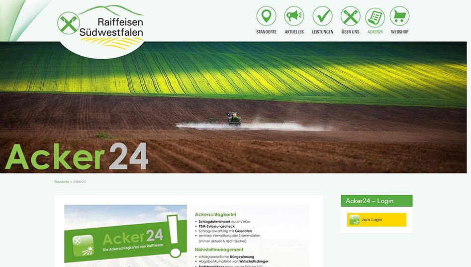 Acker24 Portal Login Seite der Raiffeisen-Südwestfalen Website