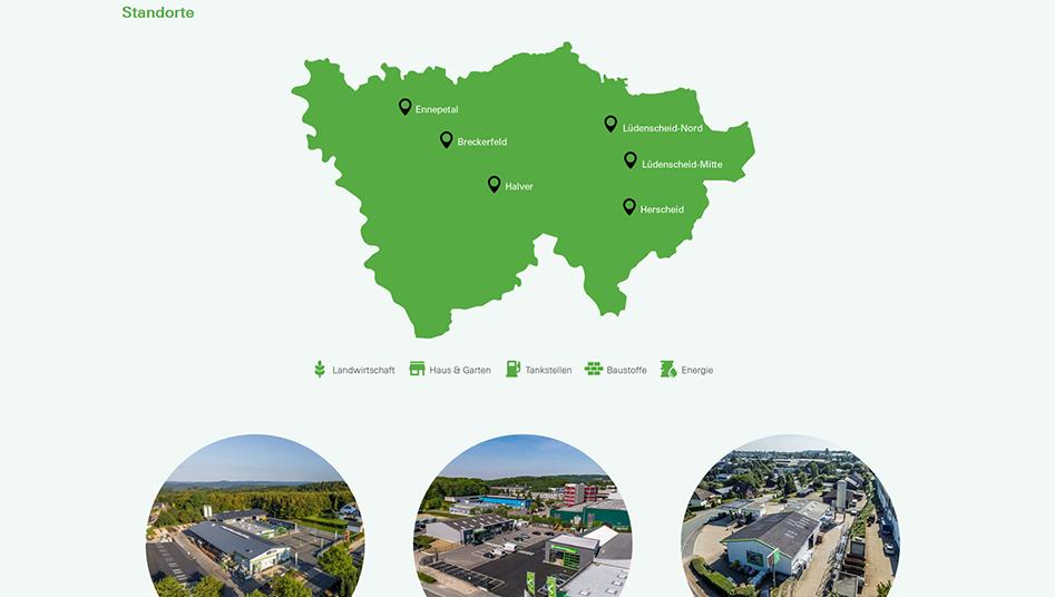 Standorte Seite der Raiffeisen-Südwestfalen Website