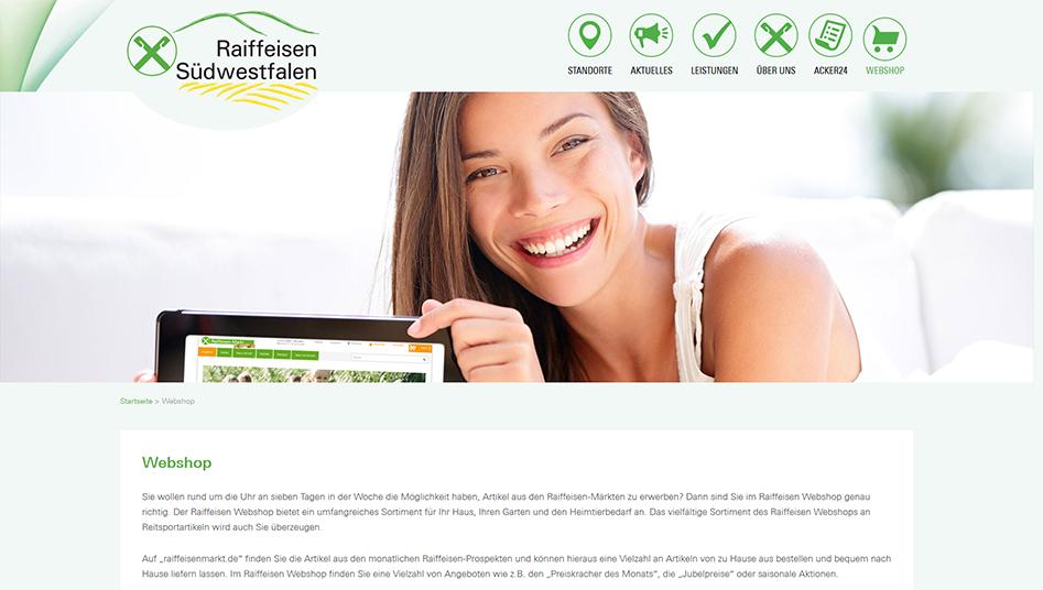 Webshop Seite der Raiffeisen-Südwestfalen Website