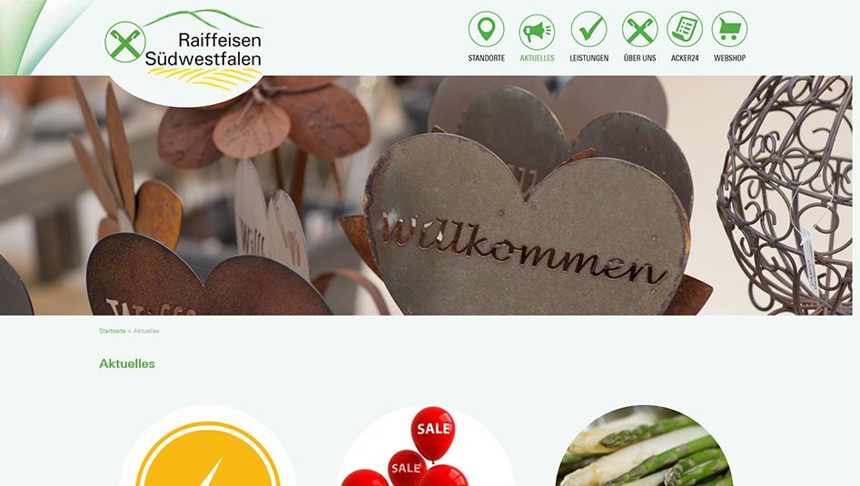 Aktuelles-Seite der Raiffeisen-Südwestfalen Website