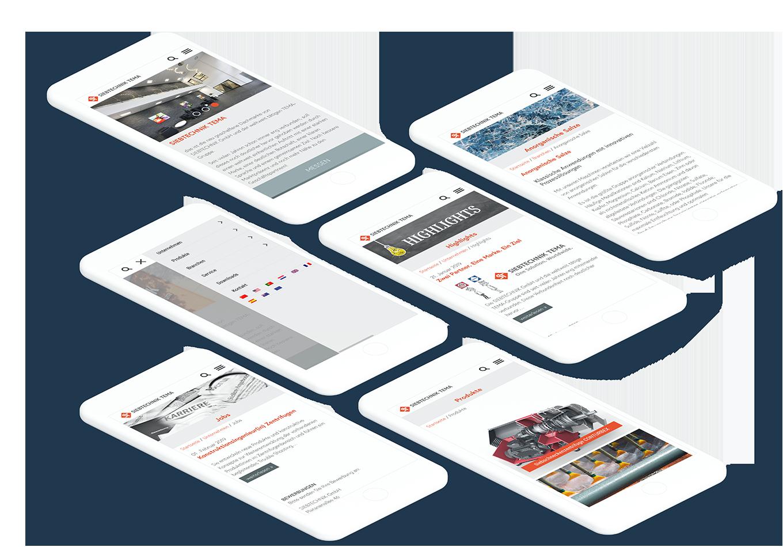 Viele Smartphones, die unterschiedliche Seiten der SIEBTECHNIK TEMA Website zeigen