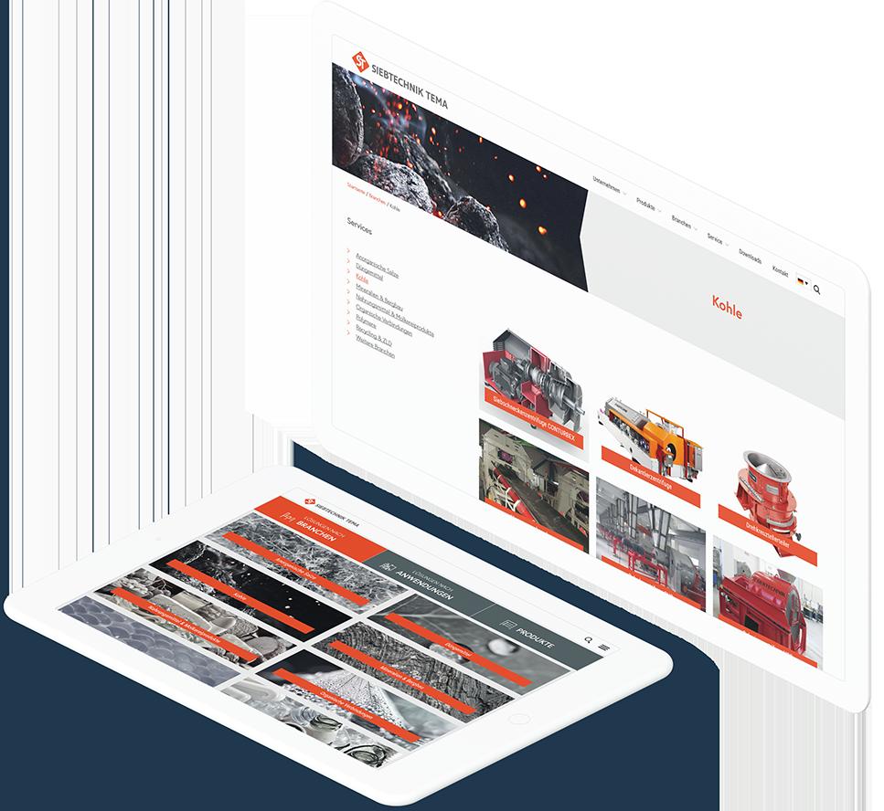 Großer weißer Bildschirm und Tablet, die unterschiedliche Seiten der SIEBTECHNIK TEMA Website anzeigen