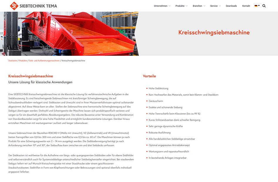 Kreisschwingsiebmaschinen Detailseite von SIEBTECHNIK TEMA