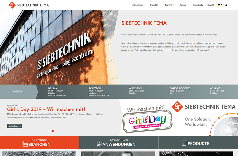Startseite von SIEBTECHNIK TEMA