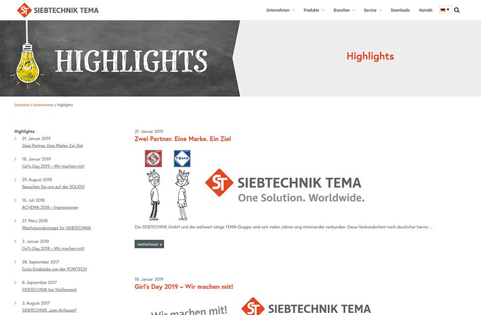 Highlights Seite der SIEBTECHNIK TEMA Website