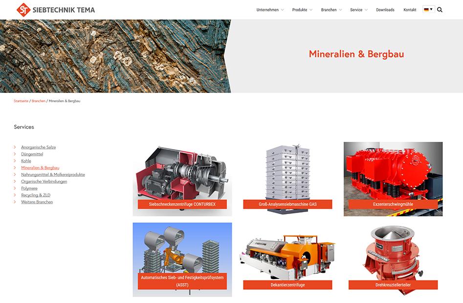 Branchenseite Mineralien und Bergbau der SIEBTECHNIK TEMA Website
