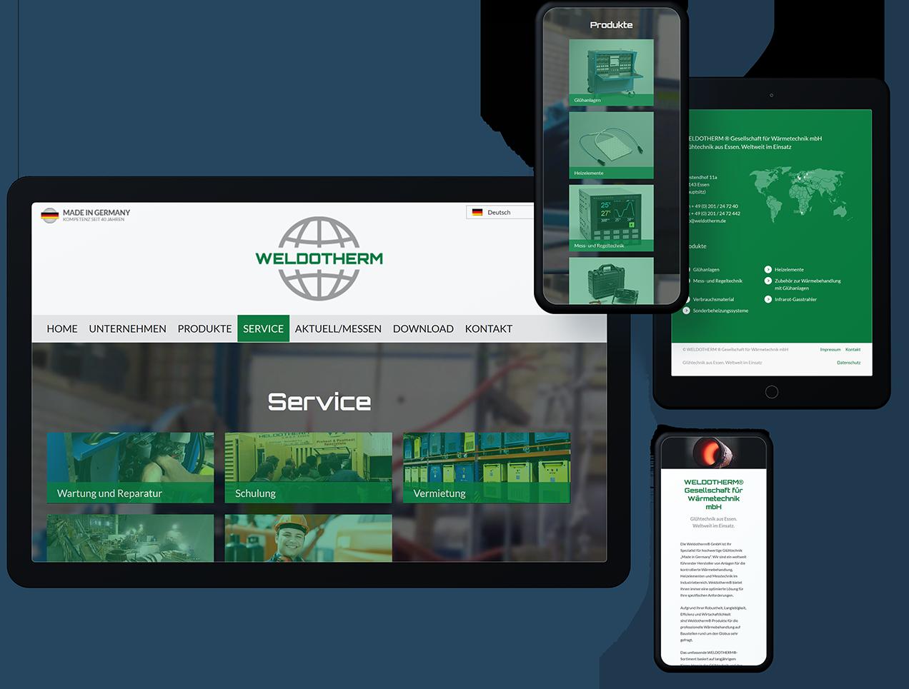 Ein großer Computerbildschirm, ein Tablet, ein großes Smartphone und ein kleines Smartphone zeigen unterschiedliche Seiten der Weldotherm Website