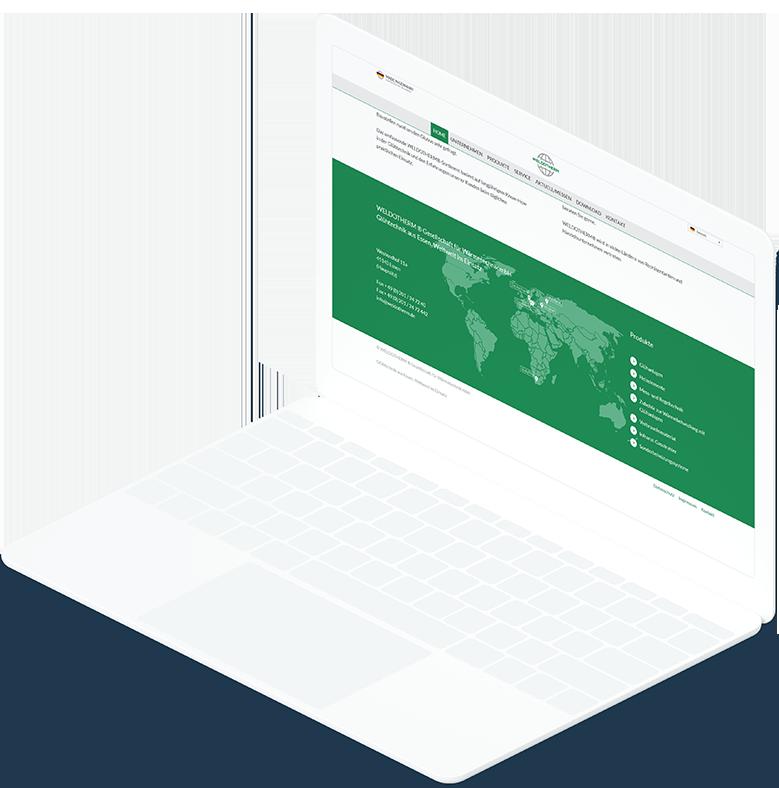 Weißes Laptop, auf dem der Footer mit Weltkarte von Weldotherm angezeigt wird