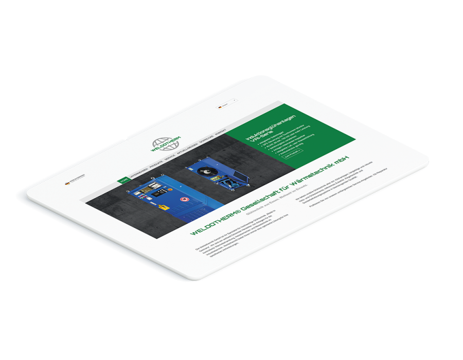 Weißes Tablet zeigt die Startseite der Weldotherm Website