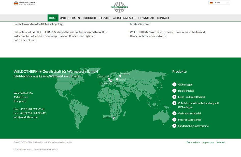 Weldotherm Webseite Weltkarte mit Standorten und Produktkategorien