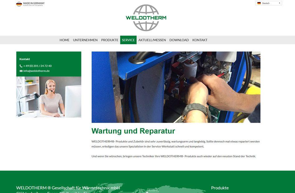 Weldotherm Service-Seite für Wartung und Reparatur