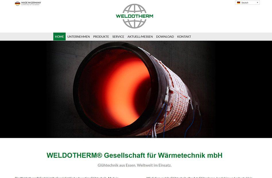 Startseite der Weldotherm Website