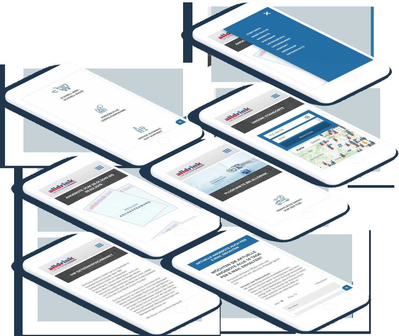 Viele Smartphones, die unterschiedliche Seiten der alldrink Website anzeigen
