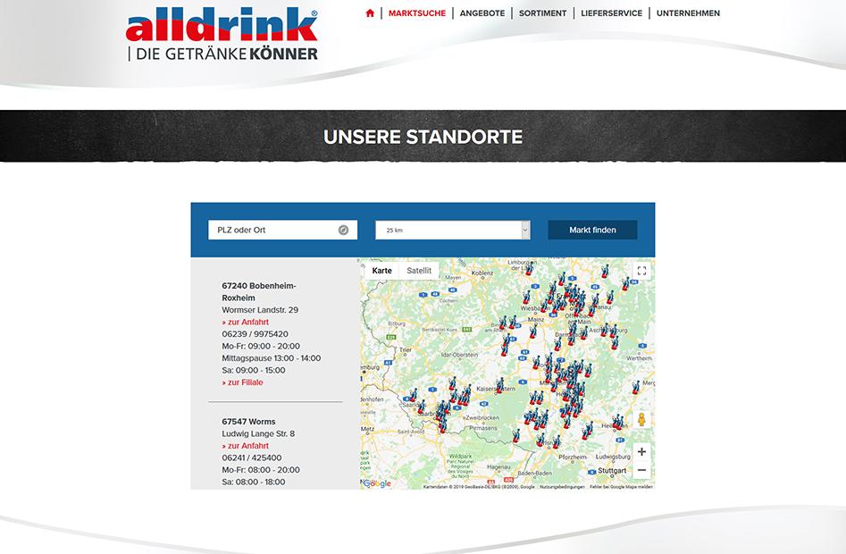alldrink Standorte in Deutschland auf der Marktsuche-Seite