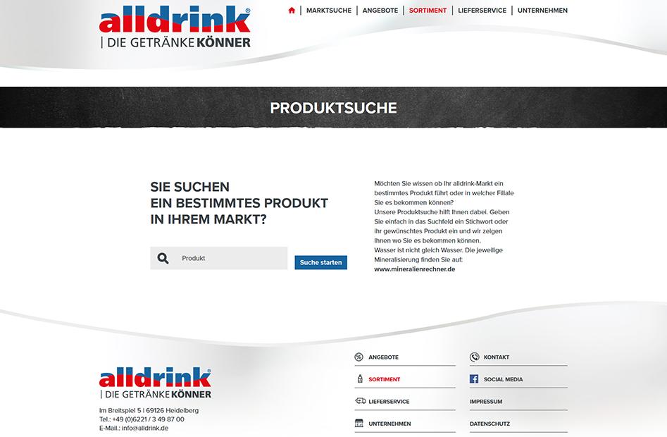 alldrink Produktsuche mit Textfeld für die Suche nach bestimmten Produkten